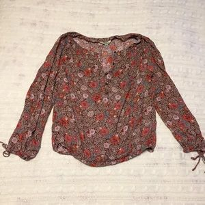 Lucky Brand Red Floral Peasant Blouse